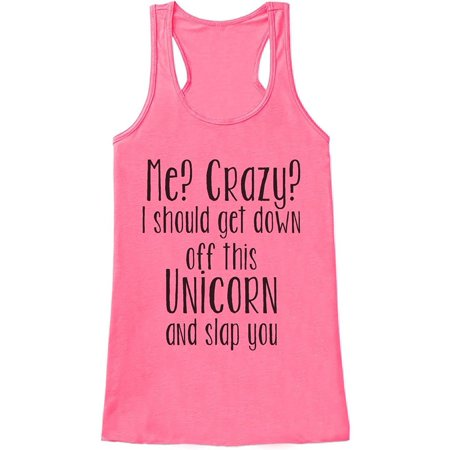 Custom Party Shop Womens Crazy Unicorn Funny Tank Top - Large