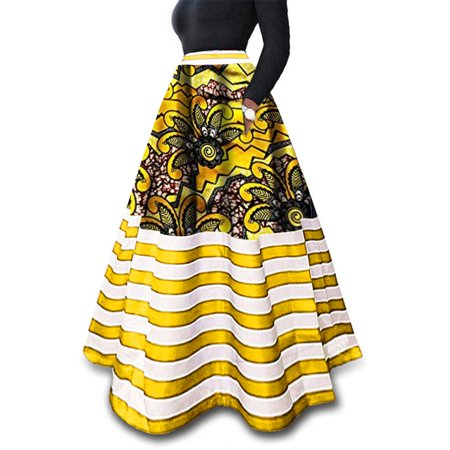 Multi Color Women's Print Summer Floor-length Bench Long Skirt with Pocket ()