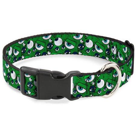 Cat Collar Breakaway Monsters Inc Eye Collage Weathered Greens Blues 8 to 12 Inches 0.5 Inch Wide (Dark Cat Eyes)