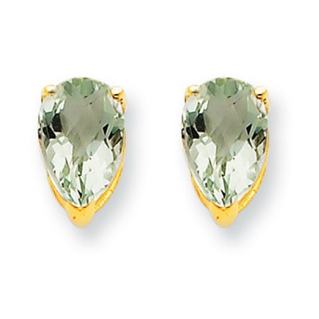 14k Yellow Gold Polished Post Earrings 8x5 Pear Green Amethyst 1 60 Cwt
