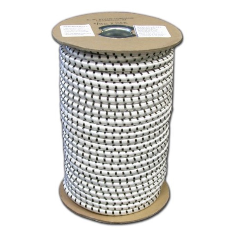 T. W.  Evans Cordage SC-108-050 . 125 inch x 50 ft.  Elastic Bungee Shock Cord in White and Black
