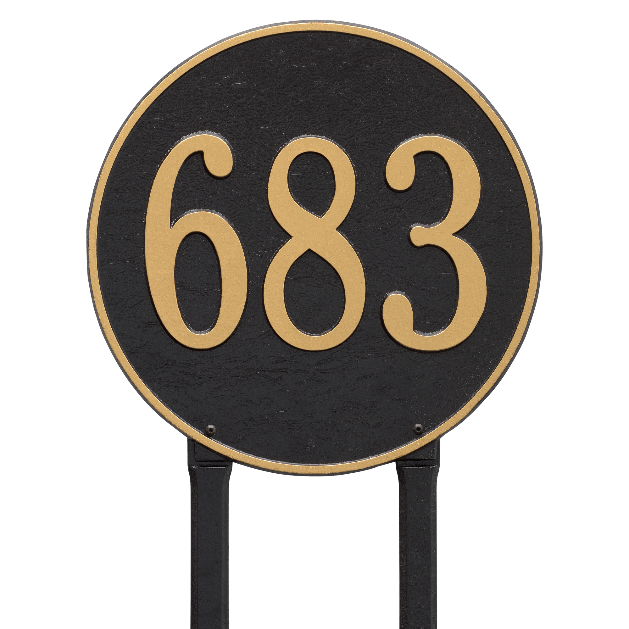 Personalized Whitehall Products 15-Inch Round Lawn Address Plaque in Black Silver by Address Plaques