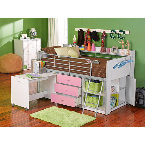Charleston Storage Loft Bed With Desk, White and Pink