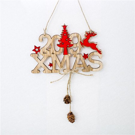 New Hallow (Voomwa Christmas New Year Alphabet House Plate Christmas Hollow Decoration Door Hanging Pendant Christmas Ornaments Wooden Hanging Elk Christmas Tree)