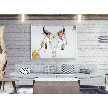 Haida Indian Art - Feather Wild Tribal Antlers Bull Boho Skull Artistic Wall Art Decor Home Decoration Size 24 x 36 Inches Bohemian Fine Art Poster Watercolor, Indian Tribe Painting Digital Art
