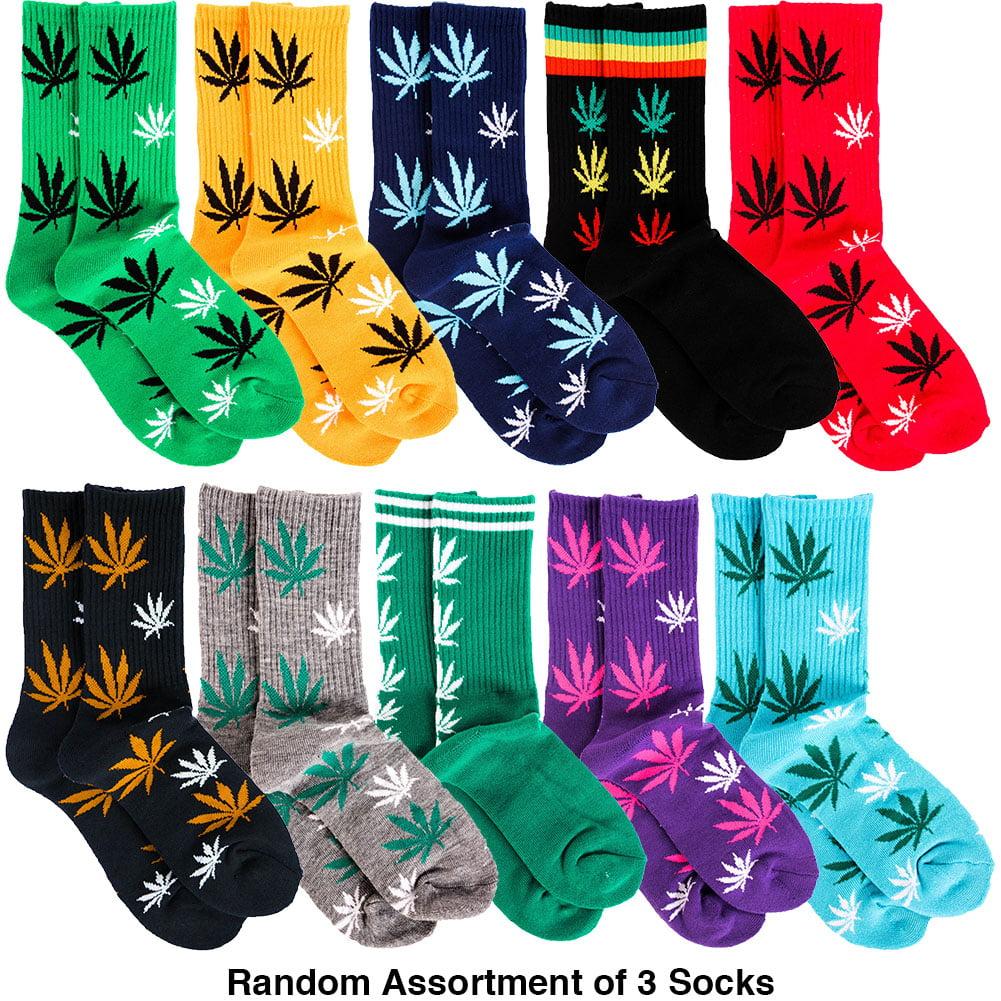 Toro Men's 3 Pairs of Marijuana Weed Leaf Printed Socks