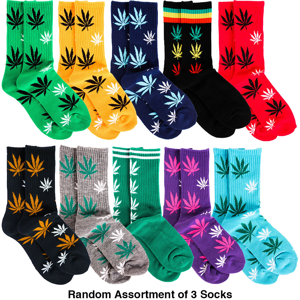 Toro Men's 3 Pairs of Marijuana Weed Leaf Printed Socks