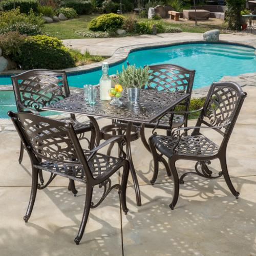 Oskaloosa Hammered Bronze Cast Aluminum 5-Piece Square Outdoor Dining Set