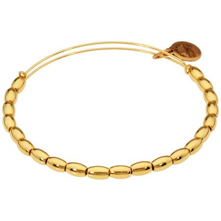 Alex And Ani Jordan Beaded Yellow Gold Finish Bangle Bracelet BBEB18YG ()