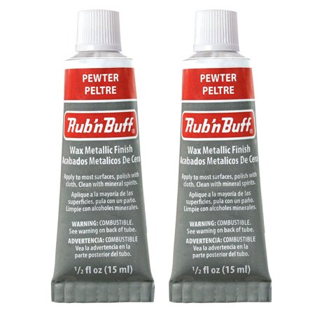 Amaco Rub 'N Buff Wax Metallic Finish, Pewter, 0.5-Fluid Ounce, 2 Pack