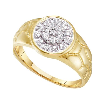 10kt Yellow Gold Mens Round Diamond Cluster Nugget Ring 1/8 Cttw - image 1 de 1