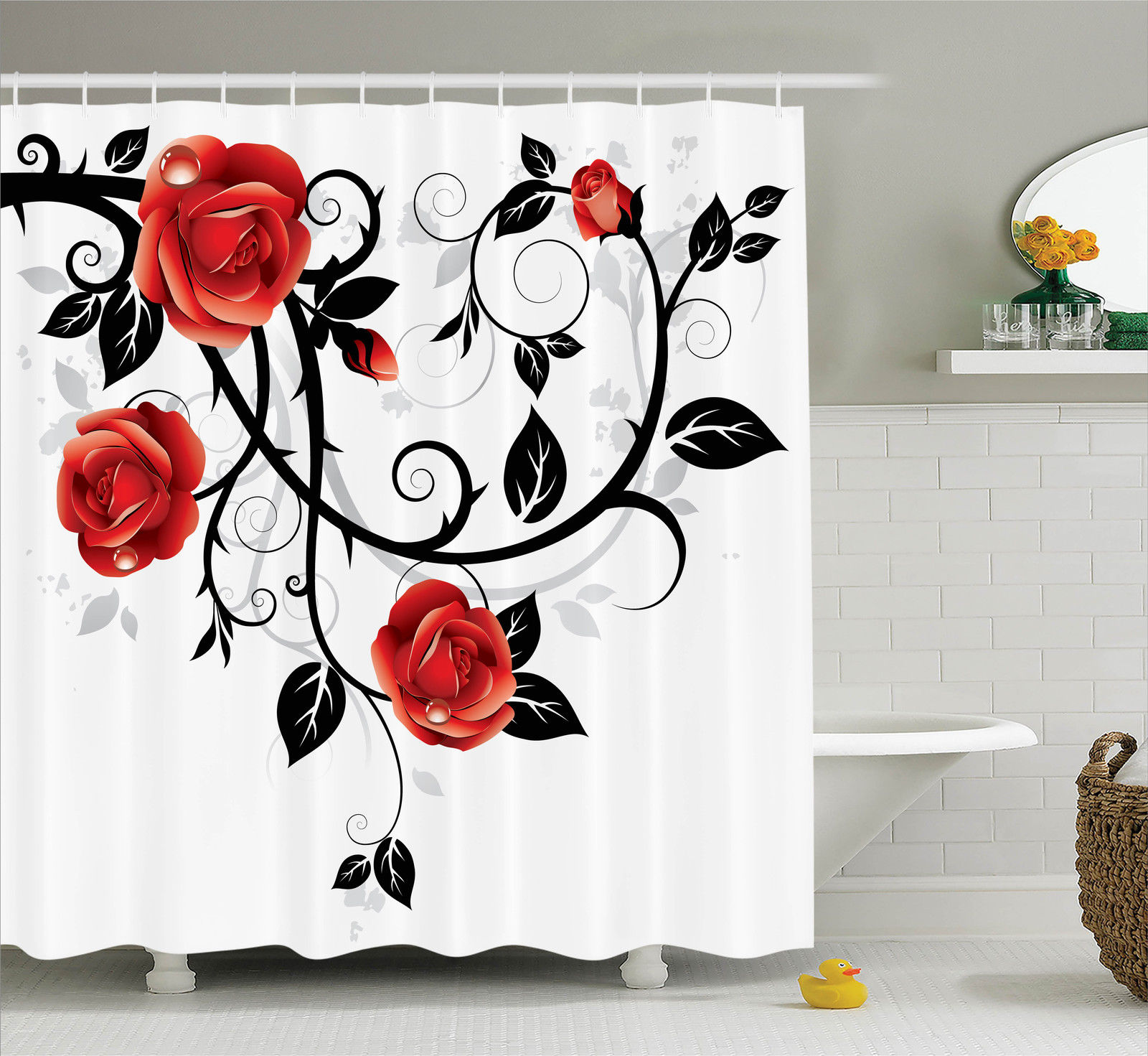 Gothic Decor Shower Curtain Set, Ornate Swirling Branches With Roses Garden Floral Gothic Grunge Style European Artwork,... by Kozmos