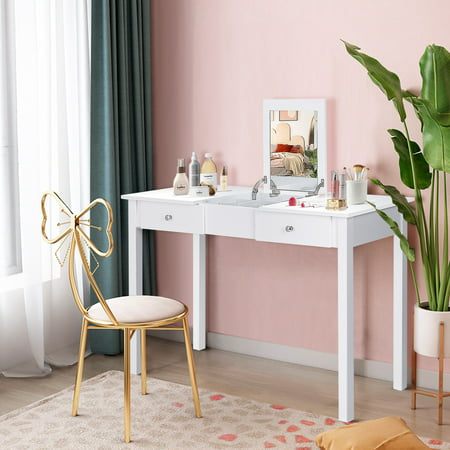Costway Vanity Table Dressing Table Flip Top Desk Mirror 2 Drawers Furniture White ()