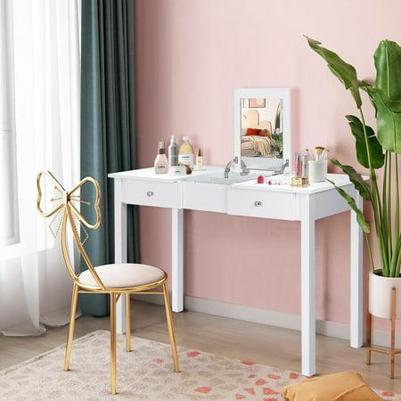 Costway Vanity Table Dressing Table Flip Top Desk Mirror 2 Drawers White - image 1 of 10