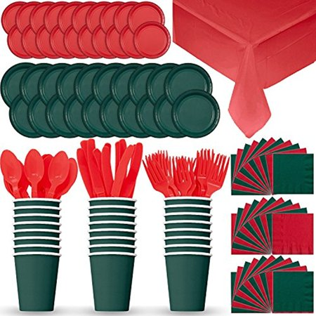 Disposable Paper Dinnerware for 24 - Red & Green (Holiday/Christmas) - 2 Size plates, Cups, 2 Different Color Napkins, Cutlery (Spoons, Forks, Knives), and tablecovers - Full Party Supply Set (Wedding Plates Cups And Napkins)