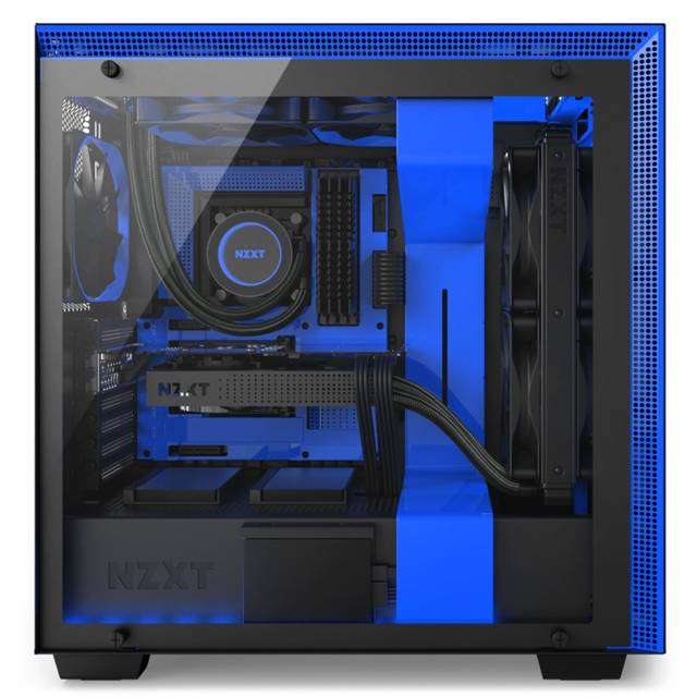 Nzxt CA-H700W-BL H700i No Power Supply Atx Mid Tower W/ Lighting And Fan Control (matte Black/blue)