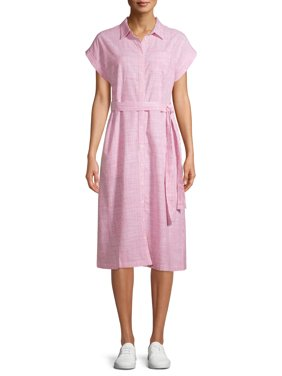 Time and Tru Women's Striped Belted Midi Shirt Dress