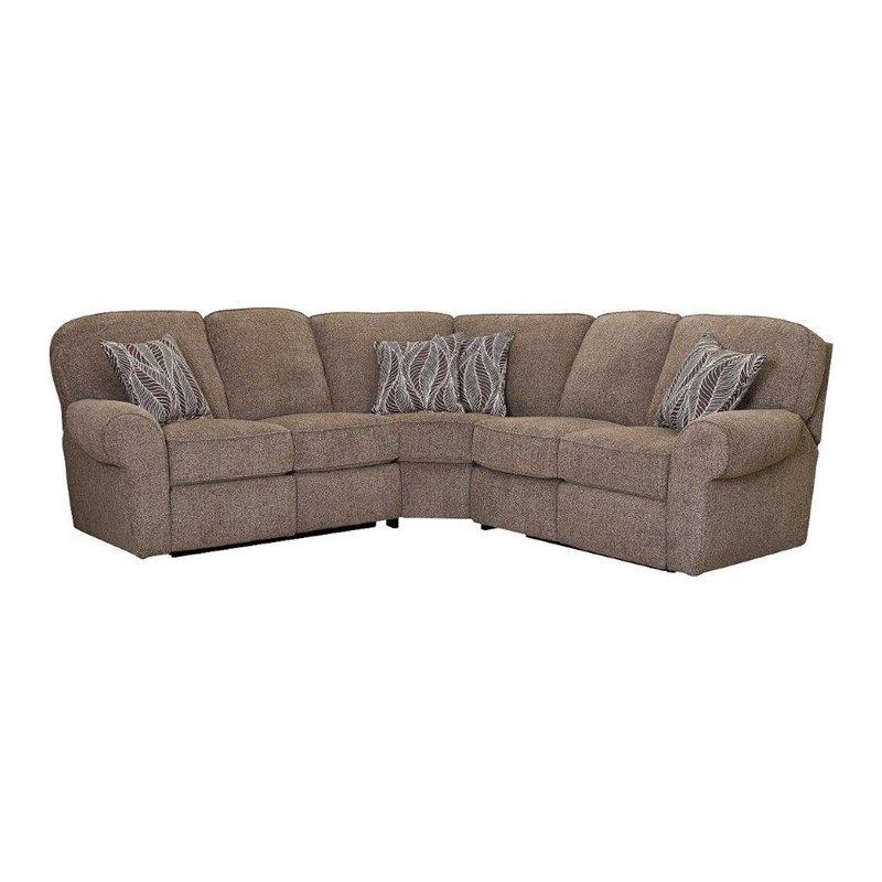 Lane Furniture Megan 3 Piece Reclining Sectional in Logan Stone