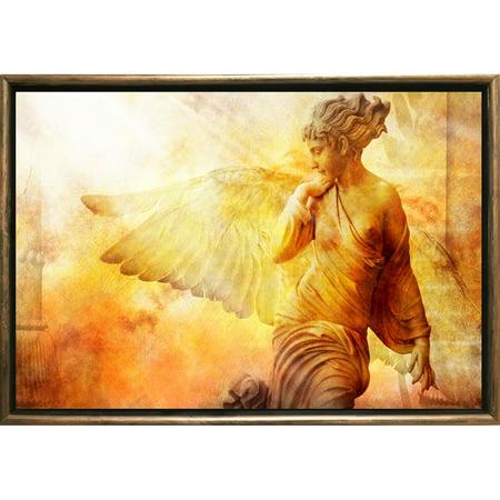 Startonight Bronze Luxury Framed Canvas Wall Art Angel Dual View Illuminated Vintage Artwork 5 Stars Gift 19.69 x 27.56 inch