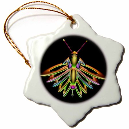 3dRose Firefly digital artwork of a colorful Firefly insect with reflecting wings and antennae - Snowflake Ornament, - Firefly Wings