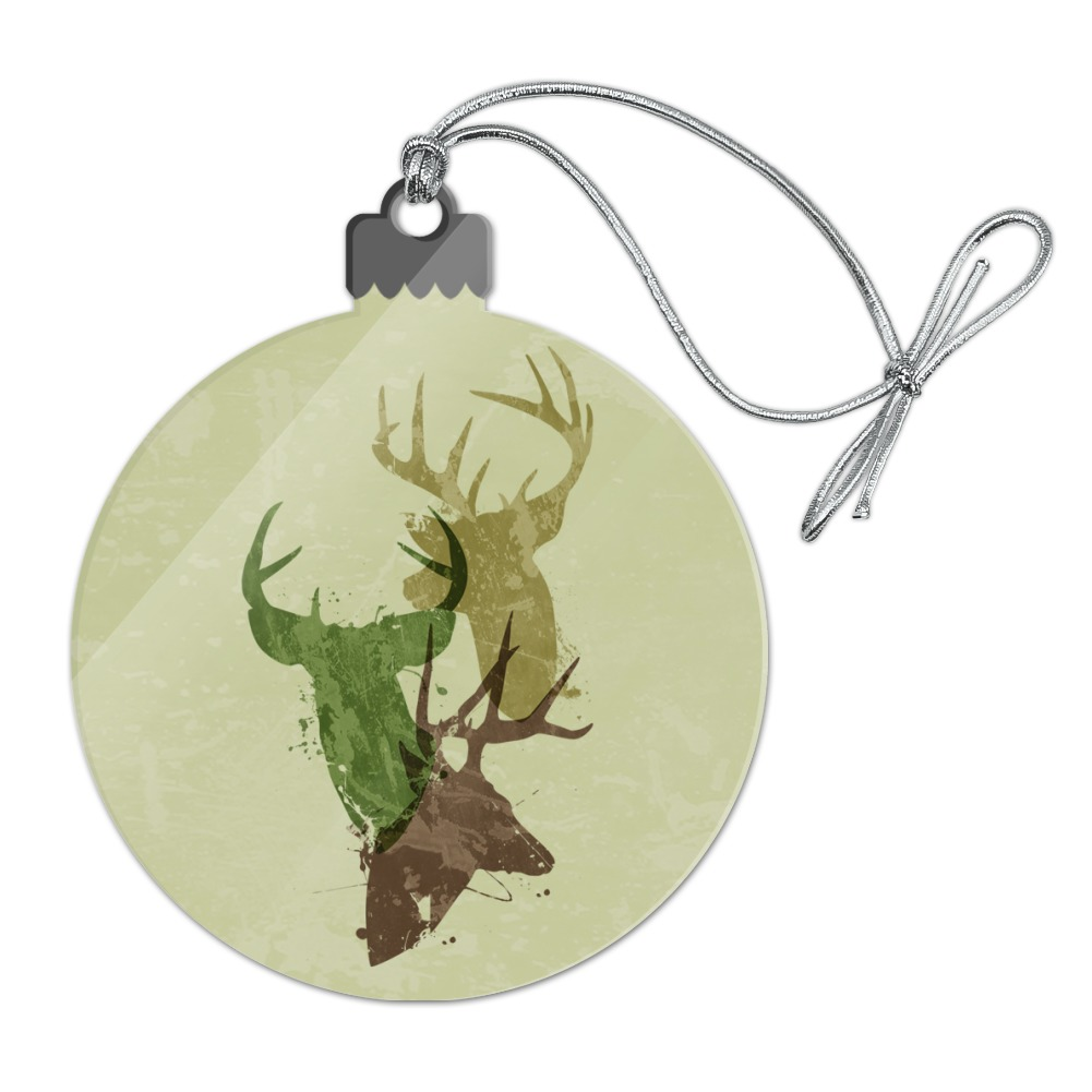 Deer Heads Trio Design Hunting Hunter Camouflage Acrylic Christmas Tree Holiday Ornament