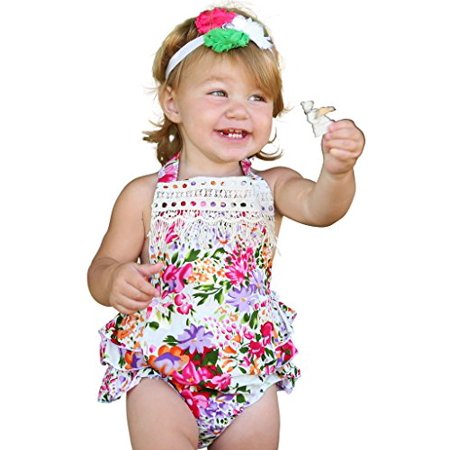 Noah's Boytique Baby Girls Vintage Inspired Summer Bright Colorful Floral Romper with Ruffle Bottoms and Halter Tie Top 0-6 Months ()
