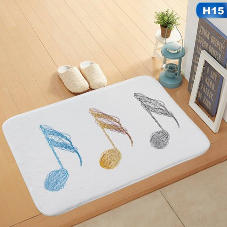 AkoaDa Music Piano Rhyme Notes Pattern Coral Velvet Non-slip Mat Carpet Home Latest - Halloween Music Piano Notes