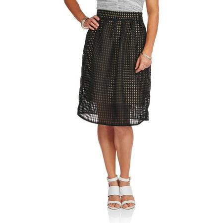 Glamor & Co Women's Aline Windowpane Skirt