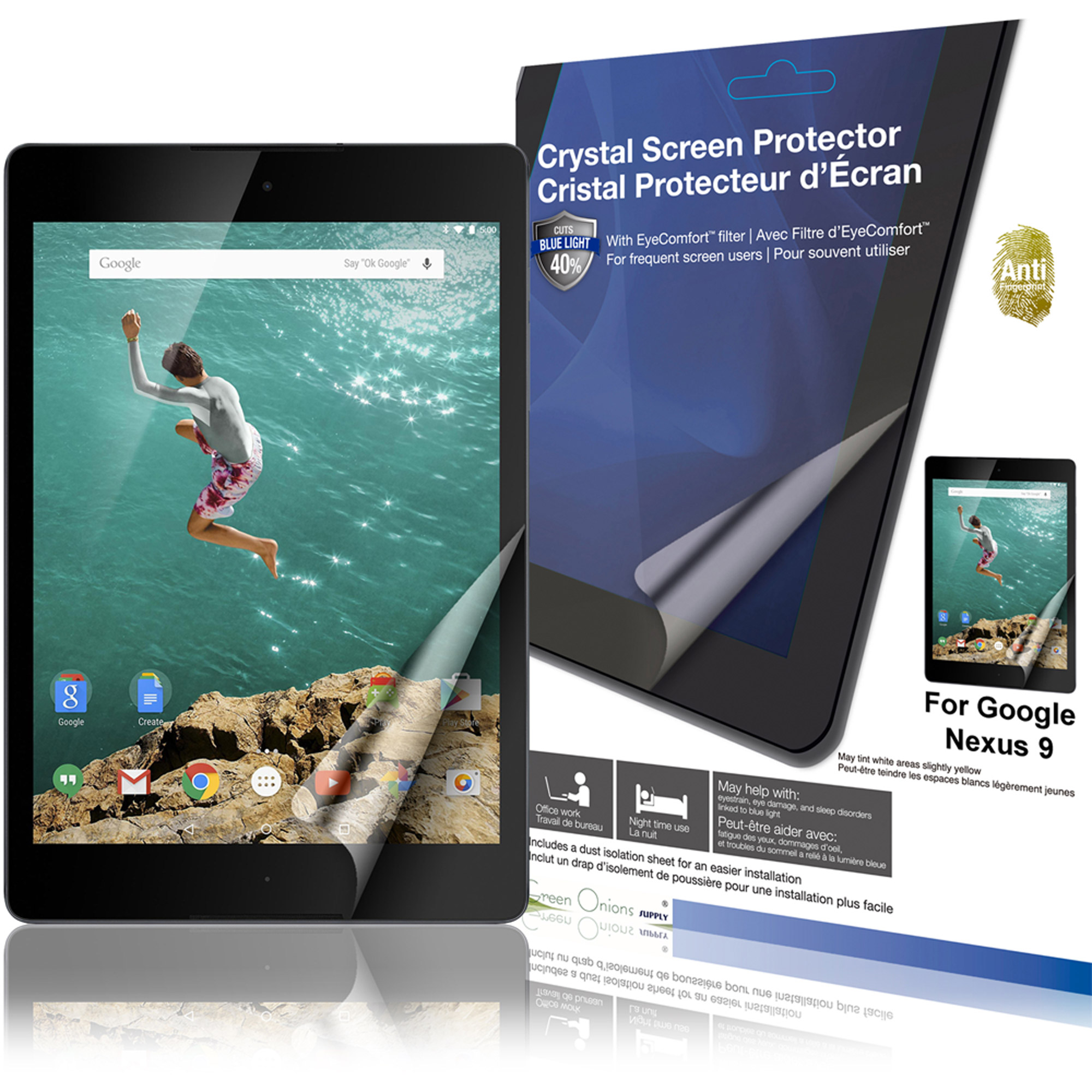 "Green Onions Supply EyeComfort AF Screen Protector for 8.9"" Google Nexus 9, Glossy"