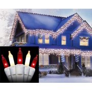 Set of 100 Red and Frosted Clear Mini Icicle Christmas Lights - White Wire