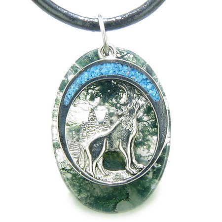 Moss Agate Gemstone Necklace (Howling Wolf Moon Amulet Good Luck Powers Moss Agate Gemstone Leather Pendant)