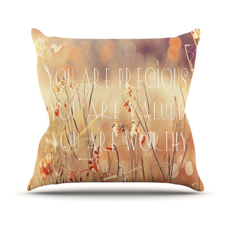 Kess InHouse Suzanne Carter You are Precious Quote Indoor / Outdoor Throw Pillow