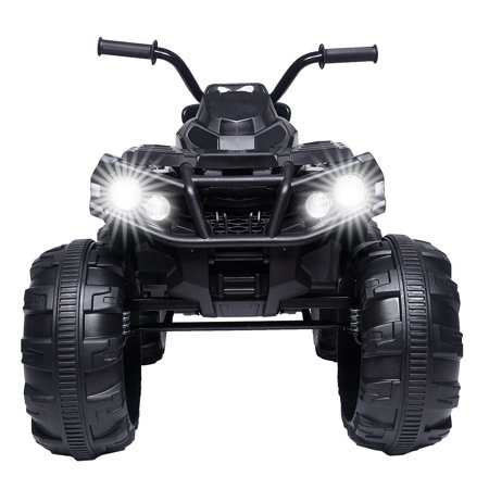 Ride ON Cars for Kids, Battery Powered Quad Ride ON Cars 12v Jeep, 4-Wheeler ATV Ride ON Toy w/ 2 Speed, LED Lights, AUX Jack, Radio, Electric Motorcycle for Boys / Girls, 3-8 Years Old, Black,