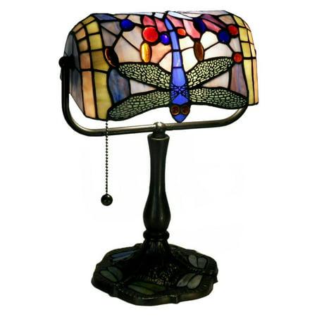 Indoor 1-light Dragonfly Bronze Banker Desk Lamp Bronze Banker Desk Lamp
