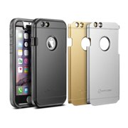 "iPhone 6s Plus Case, New Trent Trentium 6L Rugged Durable iPhone Case with Glass Screen Protector for Apple iPhone 6s Plus iPhone 6 Plus 5.5"", Black Silver Gold Plates"