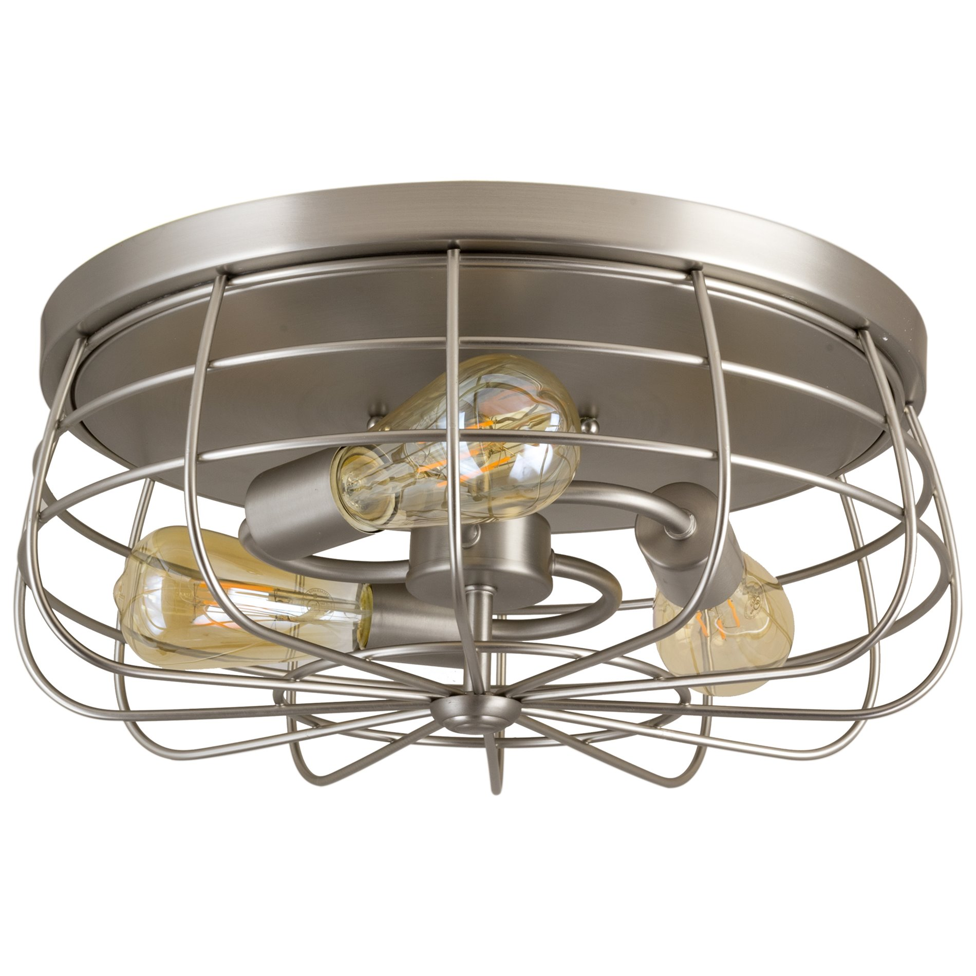 "Revel Gage 15"" Industrial 3-Light Cage Flush Mount Ceiling Light, Brushed Nickel Finish"