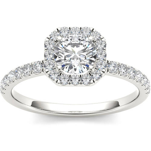3/4 Carat T.W. Diamond Single Halo 14kt White Gold Engagement Ring