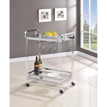 Coaster Furniture 902589 Clear Serving Cart Aluminum Serving Cart