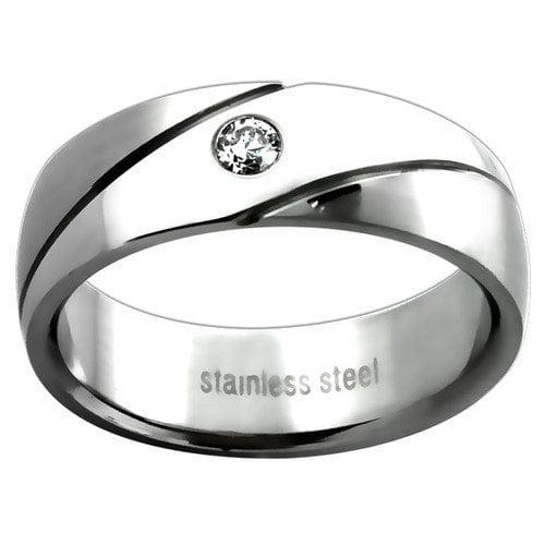 Trendbox Jewelry Men's Cubic Zirconia Wedding Band Ring
