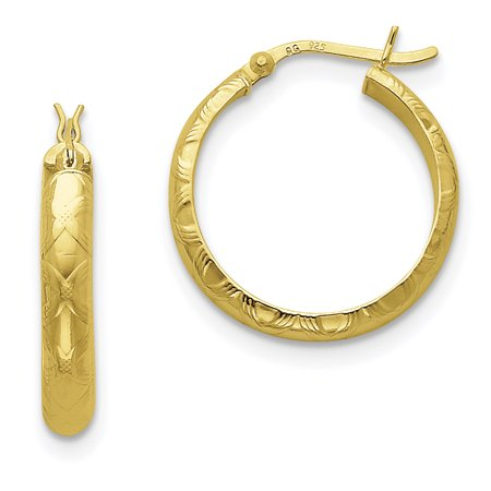 (Sterling Silver Gold-flashed Bamboo Patterned 25mm Hoop Earrings)