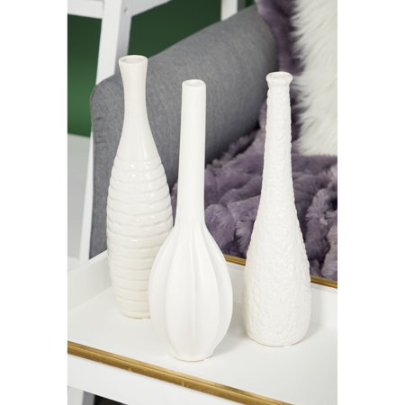 """Style Ceramic Vase - CosmoLiving Modern Style Tall White Ceramic Bud Vases with Textural Finishes 