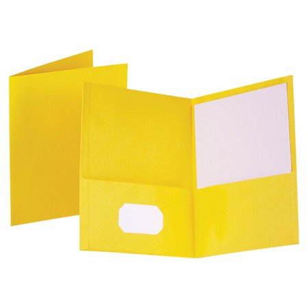 Embossed Leatherine 2 Pockets Heavy Duty Pocket Portfolio - 100 Sheets, 8.5 x 11 In. - Yellow, Pack 25
