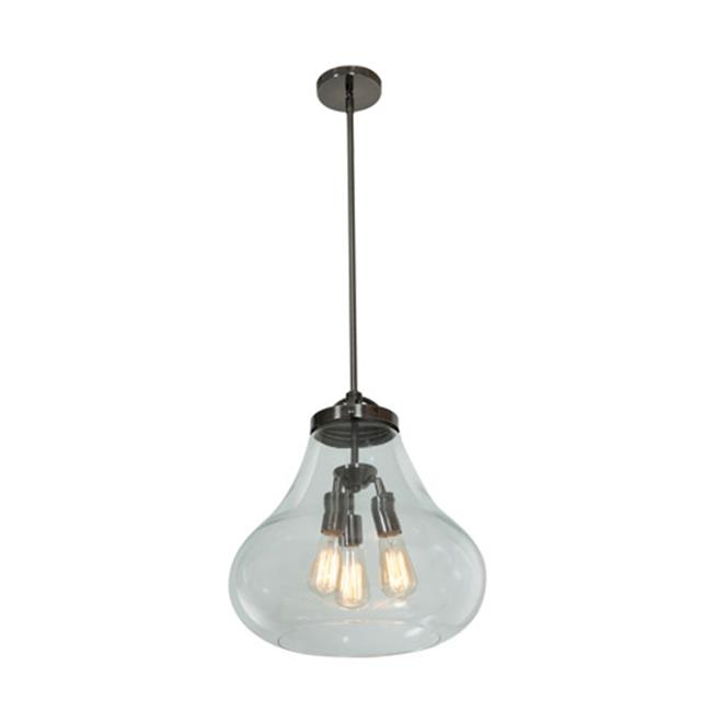 Access Lighting 55547LEDDLP-ANCK-CLR 15 in. Flux 3 Light Antique Nickel Pendant Ceiling Light in Clear by Access Lighting