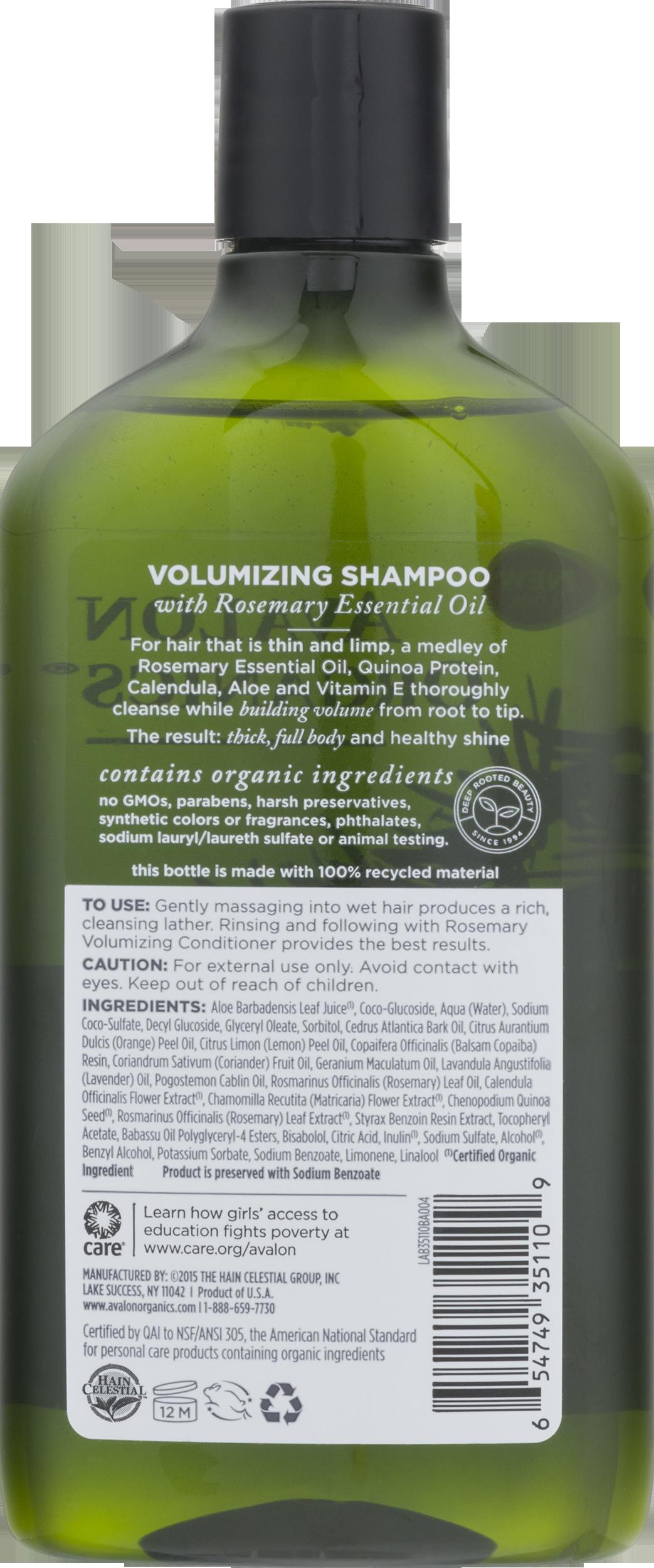 Avalon Organics Volumizing Shampoo Rosemary 11 Oz Walmart