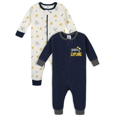 Gerber Baby Boy Thermal Footless Union Suit Pajamas, 2-Pack 2 Piece Thermal Long Pajamas