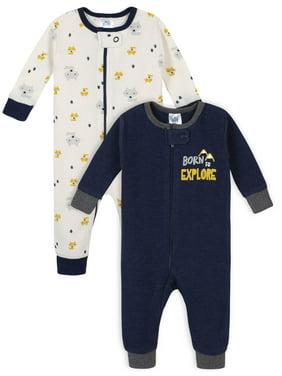 Gerber Baby Boy Thermal Footless Union Suit Pajamas, 2-Pack