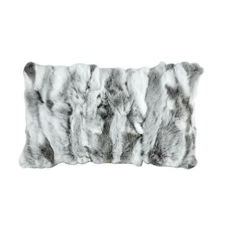 Heavy Petting Genuine Rabbit Fur Lumbar Pillow in Grey and White Genuine Rabbit Fur