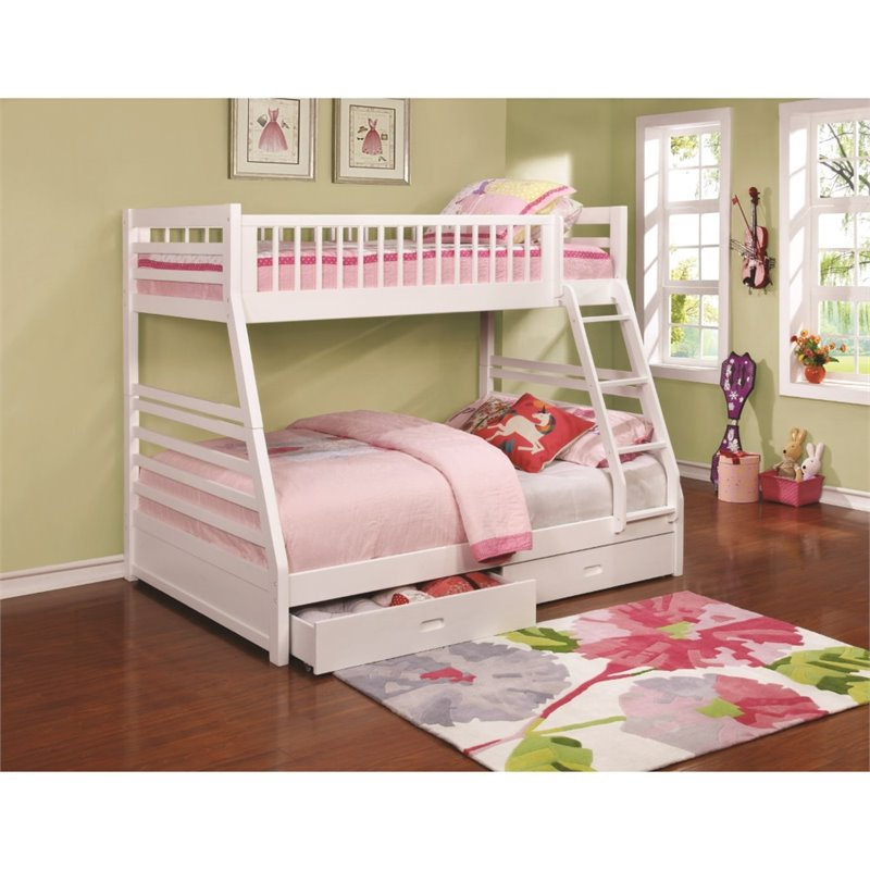 Coaster Twin over Full Bunk Bed with 2 Drawers in White