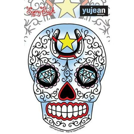 Sunny Buick, Old Skool Tattoo Lucky Horseshoe Diamond Sugar Skull Sticker Vinyl Decal - 3.75