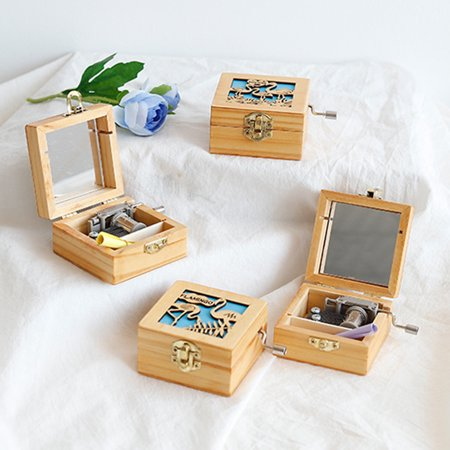 Mechanism Carved Music Box Mini Carved Wooden Flamingo Music Box in Hand Musical Gift Pefect for Little Girls ()